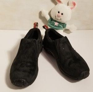 Black Merrell Moc Leather Hiking Shoes.